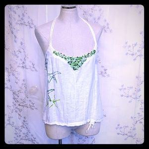 Free people linen tank top camisole White M